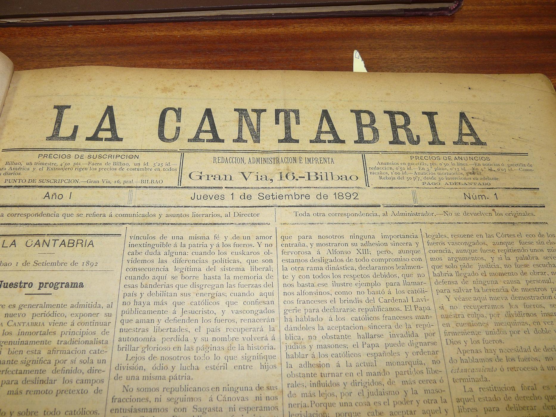 La Cantabria egunkaria Euskal Bibliotekan