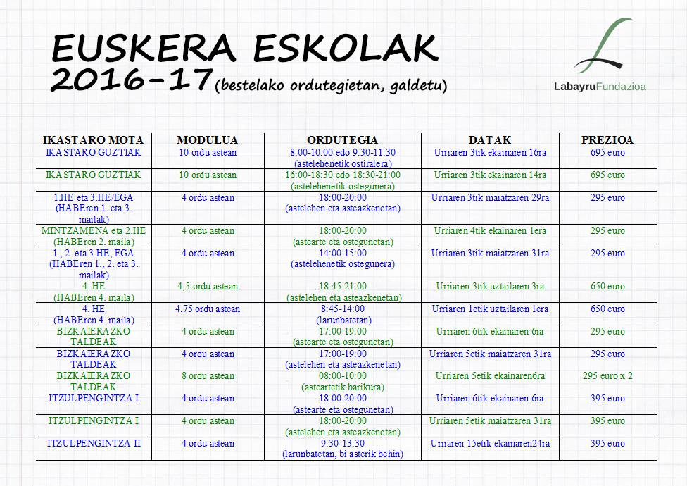 Labayruko eskolen egutegia 2016-17