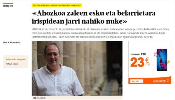 Jabier Kalzakortari alkarrizketa Berria egunkarian